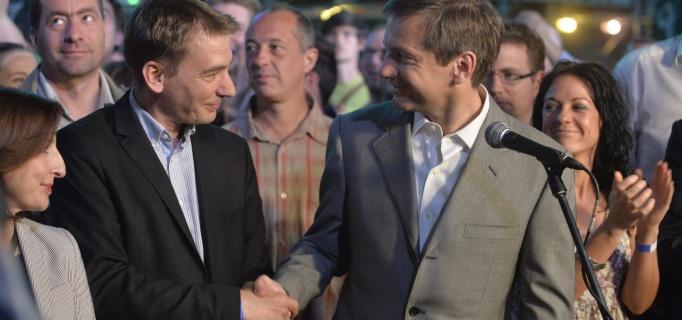 Jávor Bendek és Bajnai Gordon az EP választás éjszakáján